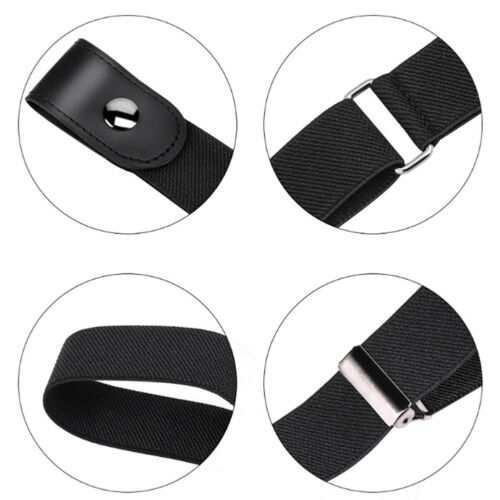 Men Women Buckle-free Elastic Adjustable Invisible Belt For Jean Pants Dress US 6
