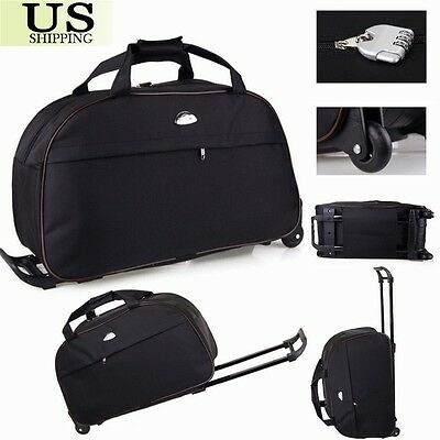 """24"""" Rolling Wheeled Duffle Trolley Bag Tote Carry On Travel Suitcase Luggage 6"""
