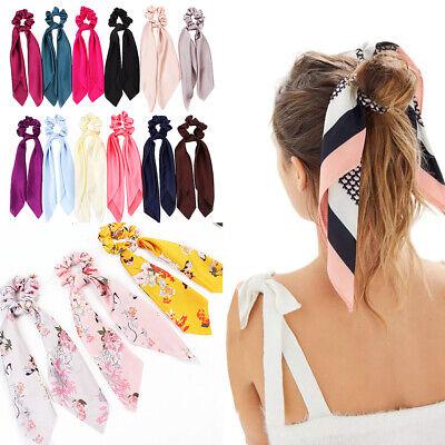 Double Layer Chiffon Bow Long Ribbon Scrunchie Hair Scarf Rubber Band Hair Tie @ 6
