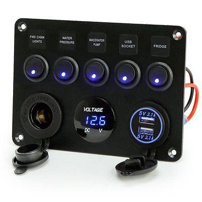 12V 24V 5 Gang Car ON-OFF Toggle Switch Panel Dual USB Socket Charger Voltmeter 2
