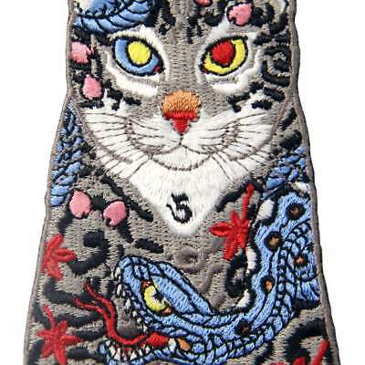 Embroidered Patches Iron Sew On transfers badges appliques Rock Cats with Snakes 2