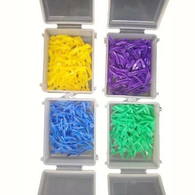 100 Pcs Dental Plastic Poly-Wedges with Holes Round Stern 4 Colors 4 Size LMSSS 3