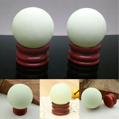 US Glow In The Dark Stone Green Luminous Quartz Crystal Sphere Ball & Stand 35mm 4