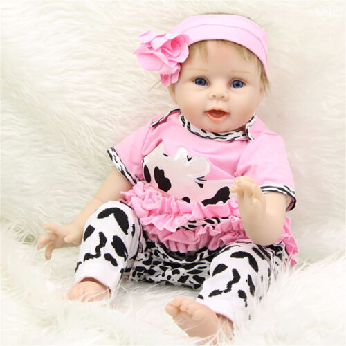 """20"""" Handmade Reborn Baby Toy Lifelike Silicone Vinyl Girl Dolls +Clothes RS #"""