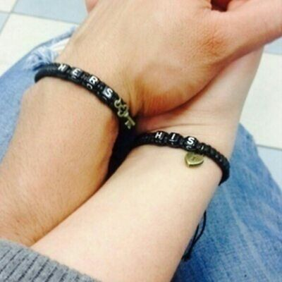 2pcs Black or Red Handmade His and Hers Lovers Matching Promise Couple Bracelet 4