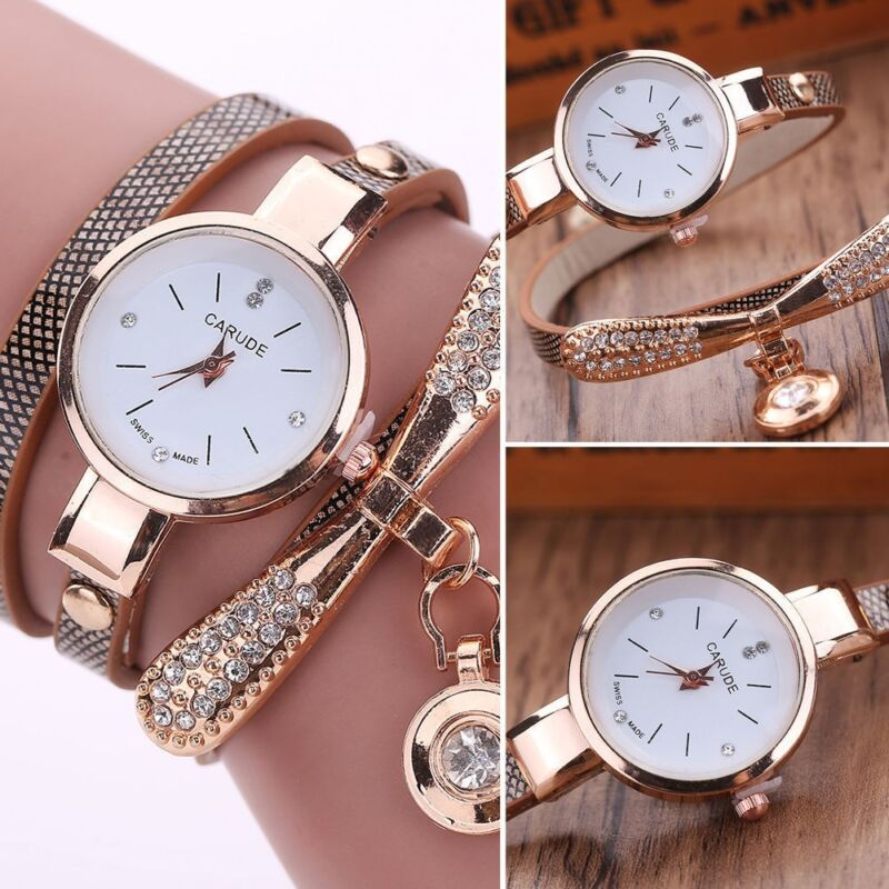 Fashion Women Ladies PU Leather Rhinestone Analog Quartz Wrist Watches New Watch 3