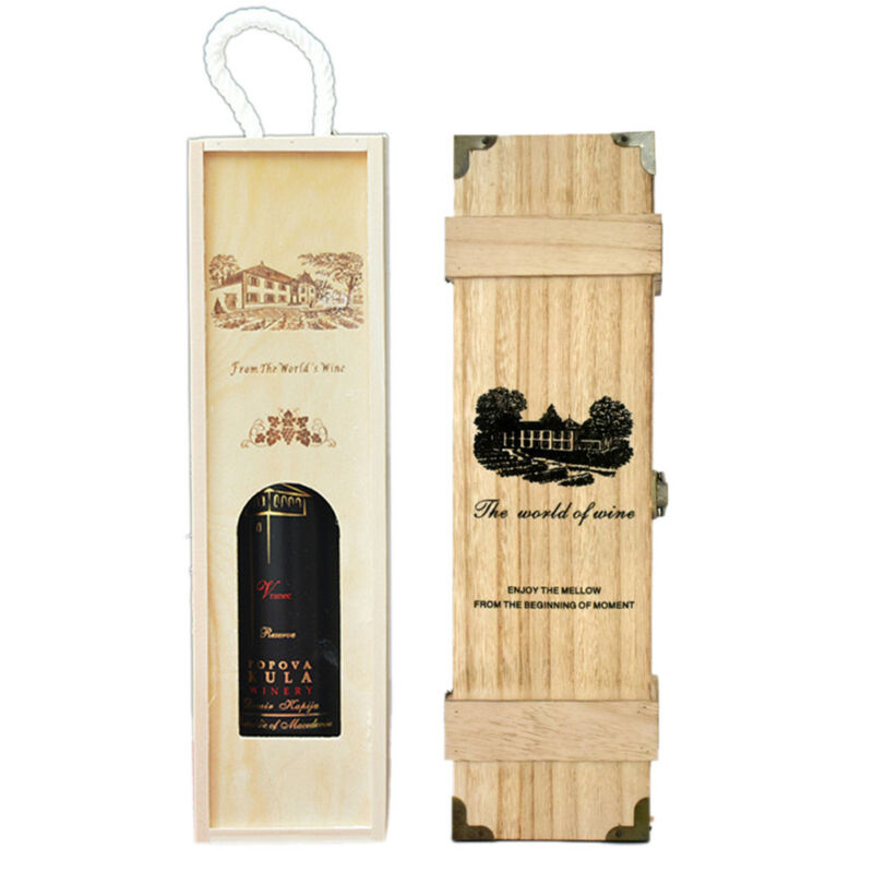 Wooden Wine Box Bottle Box Carrier Gift Case Christmas Valentines Present Gift