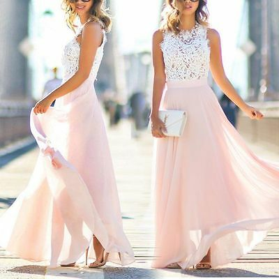 Women Sleeveless Lace Chiffon Evening Bridesmaid Party Cocktail Long Maxi Dress
