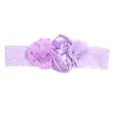 Newborn Baby Girl Pearl Lace Flower Headband Elastic Hair Band Kid Soft Headwear 5
