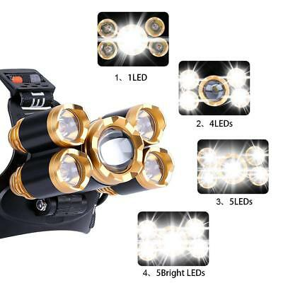 80000LM 5-LED Zoom LED Rechargeable T6 Headlamp  Light Head Torch Flashlights 2