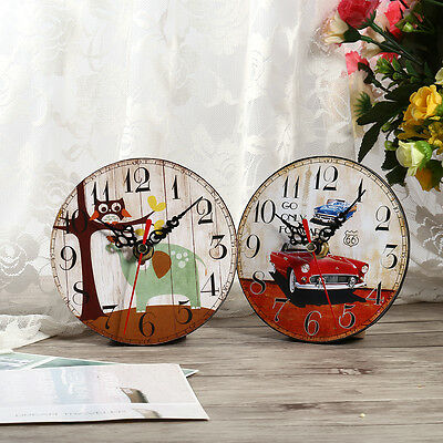 Vintage Rustic Wooden Wall Clock Home Antique Shabby Chic Retro Kitchen Decor HG 8