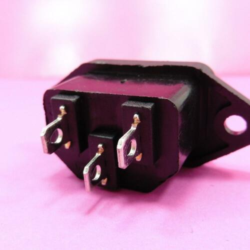 AC 10A 250V IEC320 C14 Mount Male Plug 3 Pins Panel Power Inlet Socket Supp K3K6 6