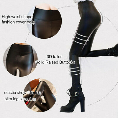 Women Skinny Faux Leather Stretchy Pants Leggings Pencil Tight Trousers Pretty 5