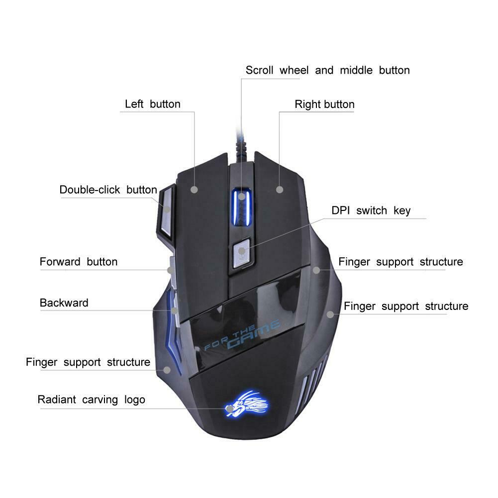 5500DPI LED Optical USB Wired Gaming Mouse 7 Buttons Gamer Computer Mice Black 5