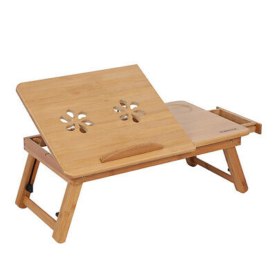 Portable Bamboo Laptop Notebook Desk Table Cooling Mouse Holder Tray Sofa Bed AU 8