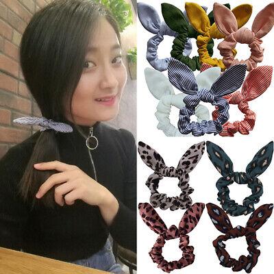 1x Cute Bunny Rabbit Ears Polka Dots Scrunchy Hair Elastic Hairband Women Girls