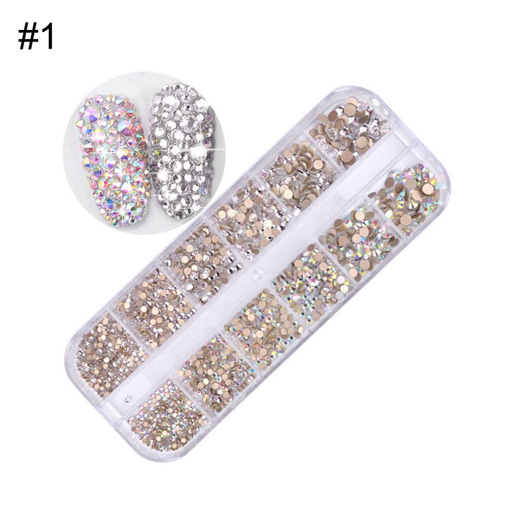 1440pcs Flat Back Nail Art Rhinestones Glitters Diamonds 3D Tips Manicure Decor 6
