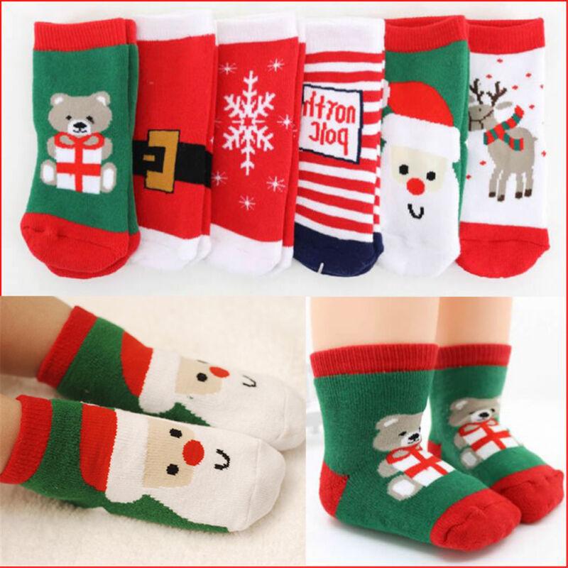 Kids Baby Christmas Warm Slipper Socks Funny Stocking Filler Boys Girls Gift Kzx