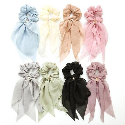 Double Layer Chiffon Bow Long Ribbon Scrunchie Hair Scarf Rubber Band Hair Tie @ 2