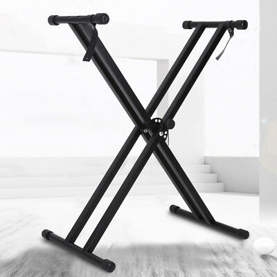 Portable Heavy Duty X Frame Folding Adjust Heights Keyboard Stand Piano + Straps 3
