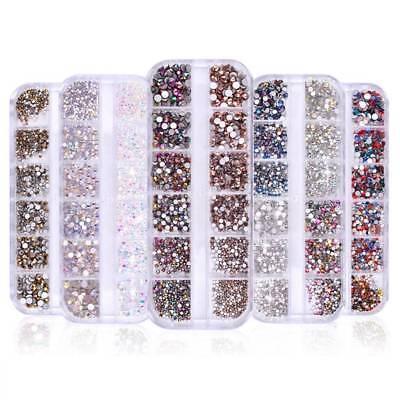 1440Pcs Flat Back 3D Nail Art Rhinestones AB Crystal Strass Manicure Gems Tips 4