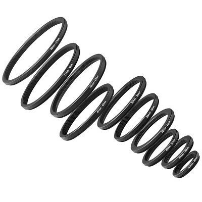 10 Pieces Anodized Black Metal Step-down Adapter Ring Set
