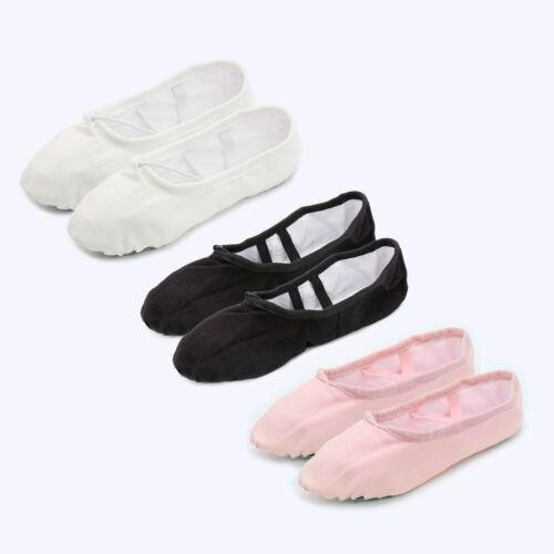 48a8a3ada CHILDREN KIDS CANVAS Ballet Dance Shoes Slippers Pointe Dancer ...