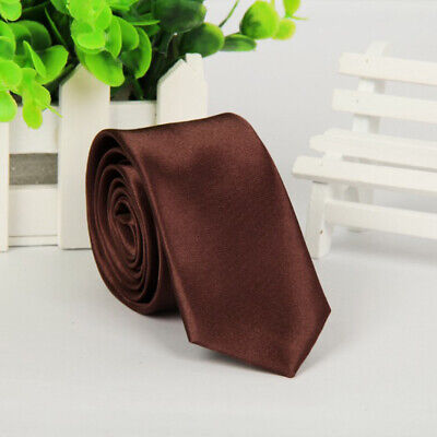 Mens SKINNY TIE Plain Wedding Slim Necktie Formal Casual Narrow Party Solid NEW 7