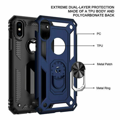 For iPhone XR 7 8 11 Pro Max Shockproof 360 Magnetic Ring Stand Armour Case 4
