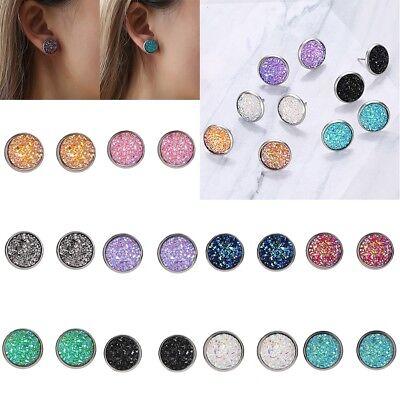 Fashion Women Druzy Earrings Natural Stone Quartz Silver Plated Small Ear Stud 6