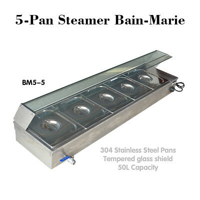 5-Pan Edelstahl EU Steamer Bain-Marie Buffet Countertop Food Warmer Steam Table