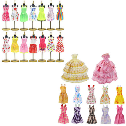 12Pcs Gown Dress Clothes Set For Barbie Dolls Wedding Party Prom Causal Decor 9