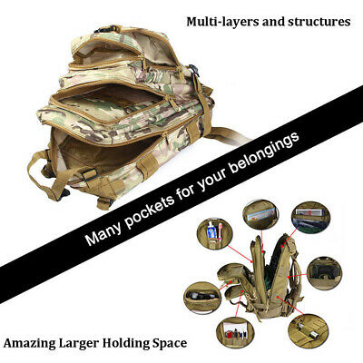 Military Tactical Army Backpack Rucksack Camping Hiking Trekking Outdoor Bag 30L 5