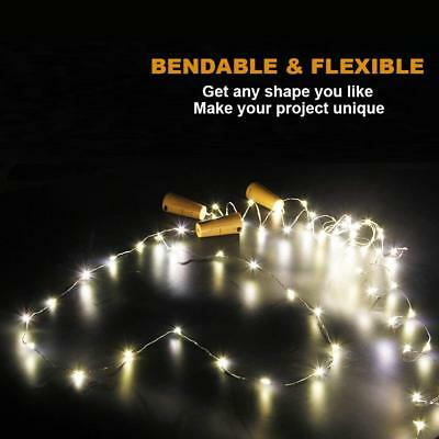 1-12 PCS 2M 20 LED Wine Bottle Fairy String Light Cork Starry Night Xmas Wedding 3