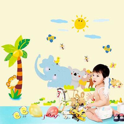 Wandtattoo Wald Sticker Wandbild Kinderzimmer Lustige Bunt Tiere