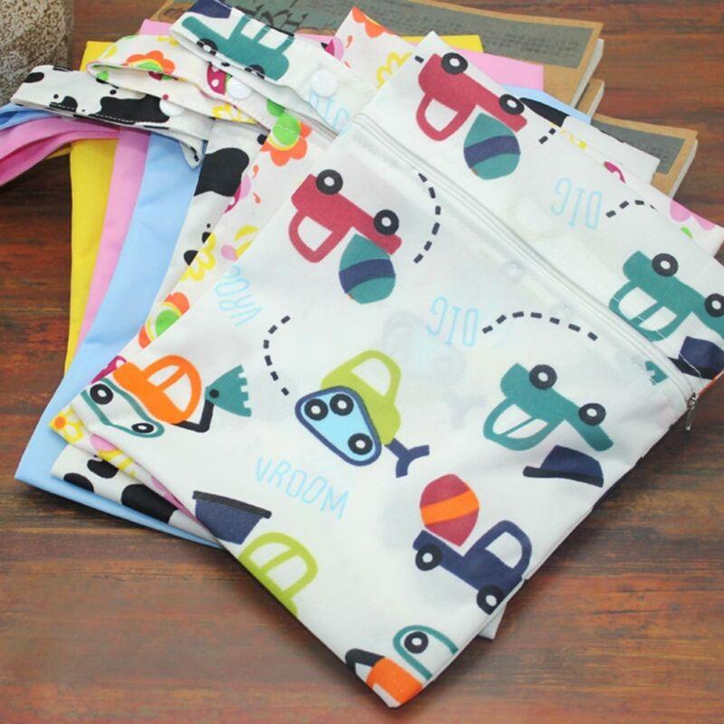 Infantil impermeable Zip Bolsa seca húmeda Paño bebé Pañal Bolsa Reutilizable 3