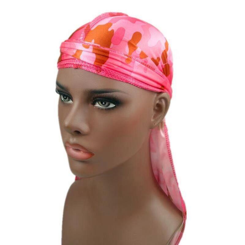 Mens Womens Camouflage Headwear Pirate Cap Hat Long Tail Bandana Turban Durag 11