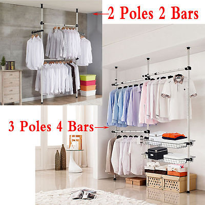 2/3 poles adjustable diy clothes coat garment hanging rail rack Diy Clothes Storage