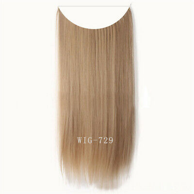 55cm Extension Cheveux lisse Ondulé Fil Invisible Transparent Monobande 3