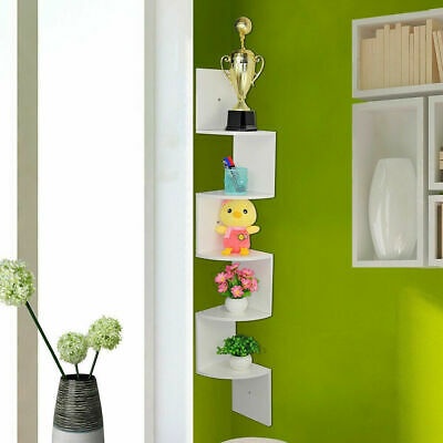 2/3/5 Tier Floating Wall Shelves Corner Shelf Storage Display Bookcase Bedroom 6