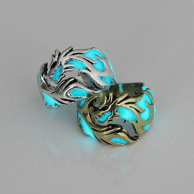 Unique Cool Mens Boys Luminous Dragon Ring Vintage Jewelry Club Pub Band Ring 4