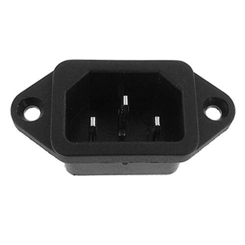 AC 10A 250V IEC320 C14 Mount Male Plug 3 Pins Panel Power Inlet Socket Supp K3K6 3