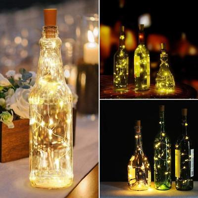 1-12 PCS 2M 20 LED Wine Bottle Fairy String Light Cork Starry Night Xmas Wedding 6
