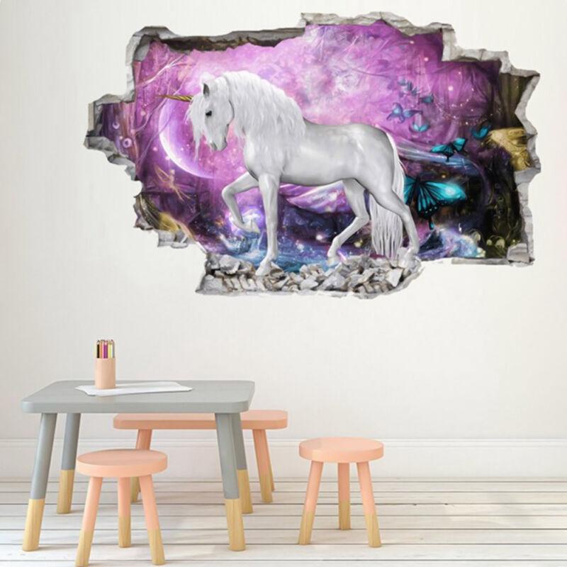 Stickers Muraux Décoratifs Pour Chambre d'Enfants De Jardin d'Enfants Licorne 3D 3
