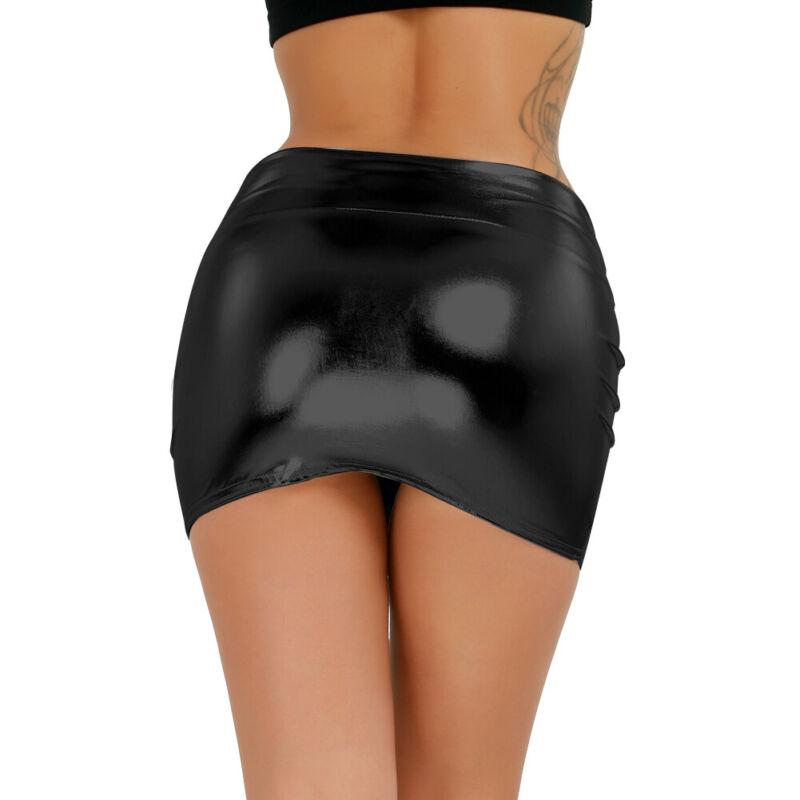 Sexy Damen Minirock Stretch Kurz Wet-Look GoGo Rock Shiny Glanz Einheitsgröße 5
