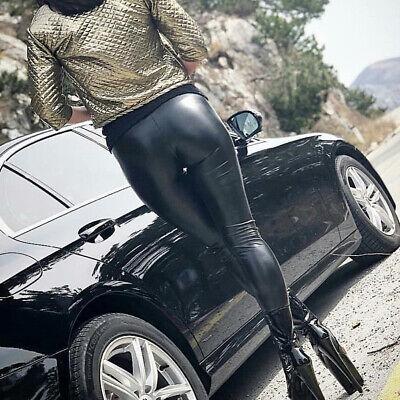Damen Wetlook Leggings Leggins Fleece Thermo Hohe Taille Pants Lang Hosen Sexy 11