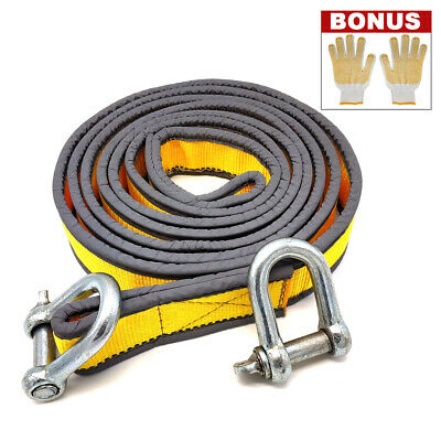 Tow Rope 8T 4x4 Heavy Duty Towing Pull Strap Road Recovery with Two Shackles 8