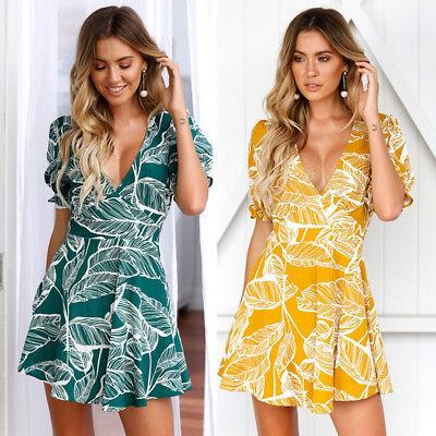 US Women Boho Floral Long Maxi Dress Evening Party Beach Dresses Summer Sundress