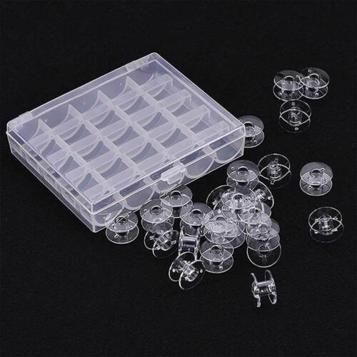 25 Clear Bobbins Plastic Spool Brother Janome Singer Box for Sewing Machine HOT