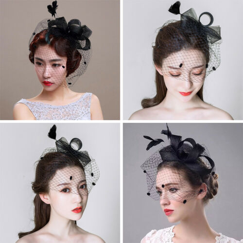 Women Lady Hair Clip Facinator Feather Headwear Veil Cocktail Wedding Party Hat 2